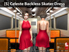 [S] Celeste Backless Skater Dress Red