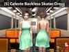 [S] Celeste Backless Skater Dress Cyan