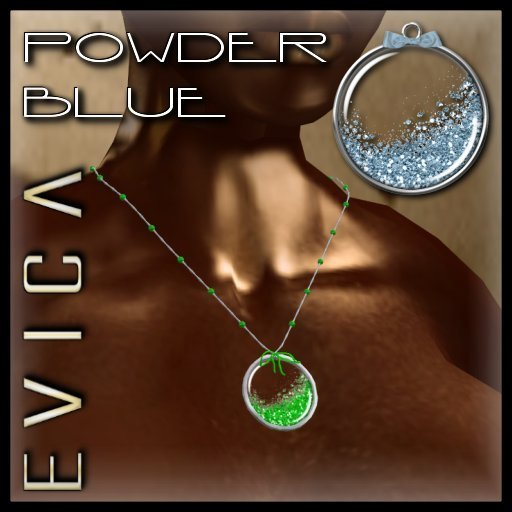 EVICA - Glitter Glass Necklace - Powder Blue