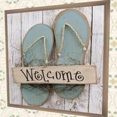 "WALL DECOR Nautical Beach House Art ""Flip Flop Welcome"" crafted interior designs for living pleasure, 1 prim HOT PROMO"