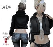 Eyelure Open Hoodie with Tee -Classic/Belleza/Slink/Maitreya  Black w/Stripe