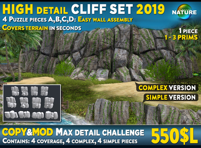 Mesh CLIFF SET 2019 - High detail challenge, cliff  for building complex rock cliffs or privacy wall in high detail