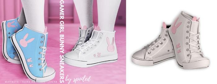 Spoiled - Gamer Girl Bunny Sneakers  Flat & Tippy Toe White