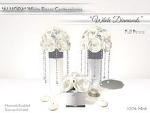 """ALUORA White Roses Centerpiece """"White Diamonds"""" - Full Perms"""