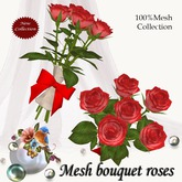 Mesh bouquet roses red