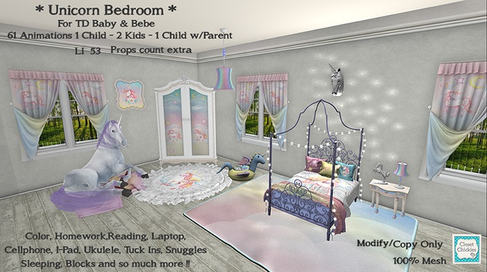 *CC* TD/Bebe Unicorn Bedroom (WEAR to UNPACK)