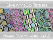 Skye WhiteBox 72 Modern Stained Glass Panels Full Alpha Transparency-  Full Perms Textures