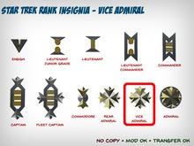 Star Trek WOK Rank Insignia - Vice Admiral