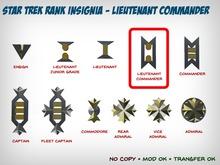 Star Trek WOK Rank Insignia - Lt. Commander