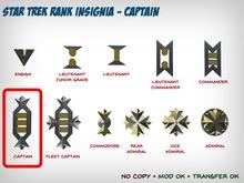 Star Trek WOK Rank Insignia - Captain