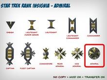 Star Trek WOK Rank Insignia - Admiral
