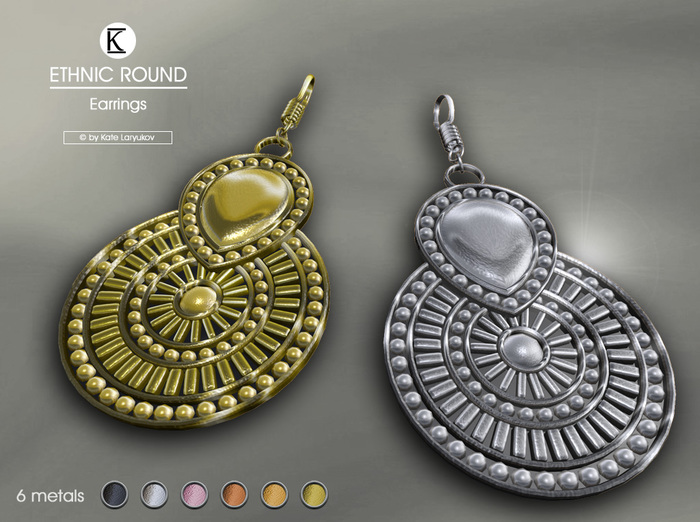 [*K*] Ethnic Round Earrings