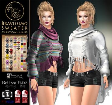***ArisarisB&W~Bravissimo Sweater~CUSTOM HUD