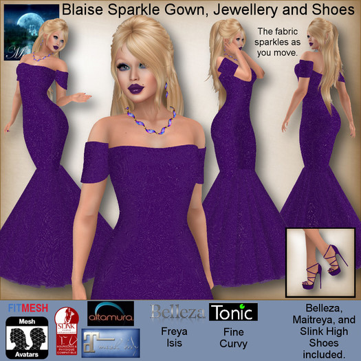 MESH Blaise Sparkle Gown, Jewellery and Shoes by Moonstar