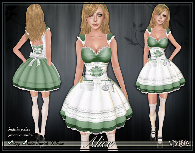 [Wishbox] Alice in Wonderland (Green) - Fairy Tale Character Costume + OMEGA Appliers