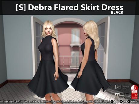 [S] Debra Flared Skirt Dress Black