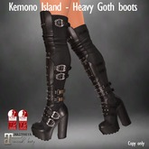 Kemono Island - Lenora Black Heavy Goth Spiked Leather Boots
