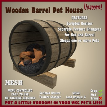 Wooden Barrel Pet House by Vavoom! (Boxed)-Accessories & Toys for Virtual Kennel Club (VKC®) Pets - No Training Required