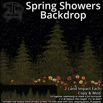 [DDD] Spring Showers Backdrop - Animated Privacy Screen w/ Texture Change Flowers