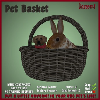 Pet Basket for VKC Pets by Vavoom! - Accessories and Toys for Virtual Kennel Club (VKC®) Pets - No Training Required