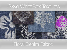 84 Floral Denim Fabric - Skye WhiteBox Full Perms Textures