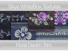 Floral Denim Trim (or Belt) - Skye WhiteBox Full Perms Textures