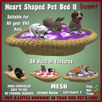 Heart Shaped Pet Bed II by Vavoom! - Accessories and Toys for Virtual Kennel Club (VKC®) Pets - No Training Required
