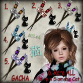 GACHA Hairpin Siamese Cat Complete Set