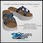 [LoPo Footwear] Leather & Tweed Platform Sandals BOXED