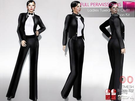 Second Life Marketplace Full Perm Ladies Tuxedo Outfit Set Fitmesh Maitreya Slink Belleza Tonic Ocacin Voluptuous