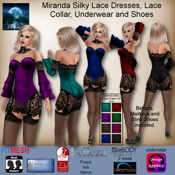 MESH Miranda Silky Lace Dresses, Lace Collar, Underwear and Sho