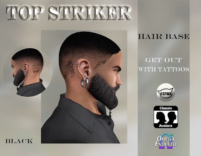 TOP STRIKER / Hairbase GET OUT - black / with Tattoo