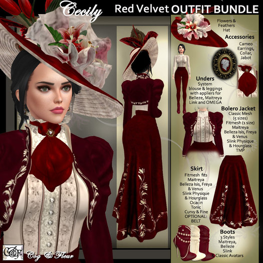 C&F Cecily Victorian Outfit Bundle - Strawberriies & Cream