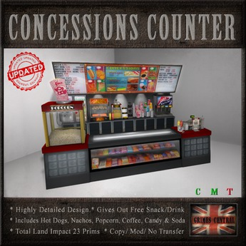 CONCESSIONS COUNTER / STAND / SNACK BAR ( with Inbuilt Snack Dispenser )