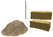 Hay Mound, Pitchfork and Two Bales of Hay or Straw