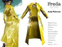 """Freda"" Antje open raincoat yellow gold glossy reflective pvc, highly detailed coat, Maitreya, Belleza, Slink, Rebirth"