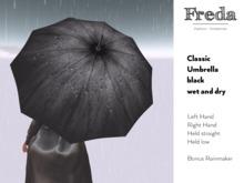 """Freda"" Ella classical black umbrella, also for men, incl. 2 Bento hand poses, dry and wet version, incl. rainmaker"