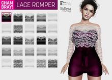 !Chambray Lace Romper [Black]