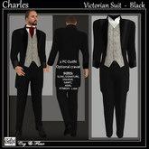 C&F Charles Victorian Suit - Black Pinstripe