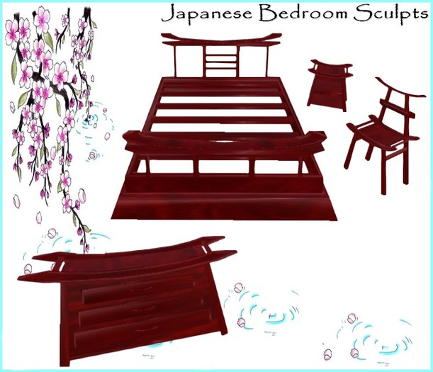 Second Life Marketplace Full Perm Japanese Bedroom Sculpts Oriental Furniture 1 Prim Sculpty Set Sculpt Maps Incl