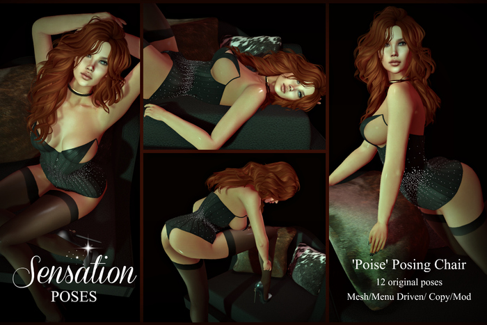 Sensation Poses 'Poise' Chair mesh posing prop 12 poses