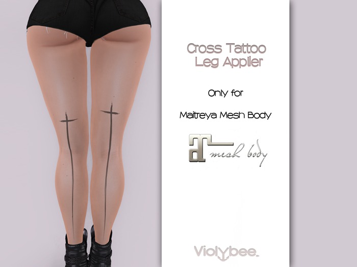 Violybee. Cross Tattoo - Leg (Maitreya Applier)