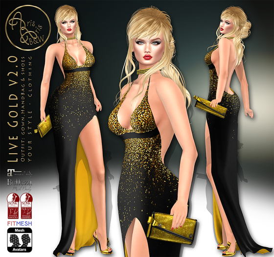 ***ArisArisB&W~Live Gold v2-Gown OUTFIT