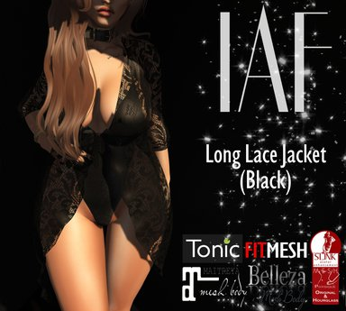 IAF Long Lace Jacket BLACK (SLINK-TONIC-BELLEZA-MAITREYA)