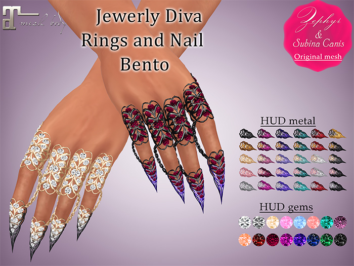 """""""Zephyr"""" Jewerly Diva - Rings and Nail - Bento"""