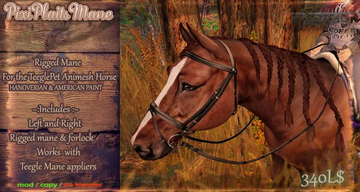 ::AppyBottoms:: TeeglePet Horse - Pixi Plaits Mane (Hano Paint)