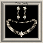 Beloved Jewelry : Gem Set in Silver with Diamonds (Earrings and Necklace)