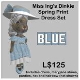 Miss Ing's Dinkie Springtime Blue Printed Dress Set Boxed