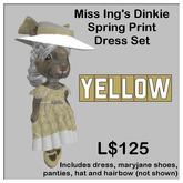 Miss Ing's Dinkie Springtime Printed Yellow Dress Set Boxed