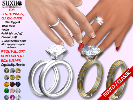 [SuXue Mesh] FATPACK Aime Bento & Classic Unrigged Wedding Rings HUD Resize Proposal Pose For Female & Male